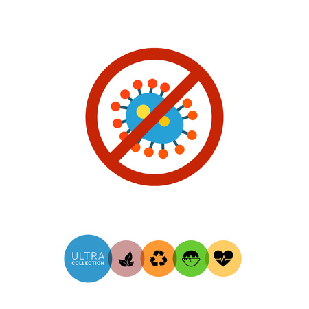 antibacterial: Antibacterial sign icon. Multicolored vector illustration of no bacteria sign Illustration