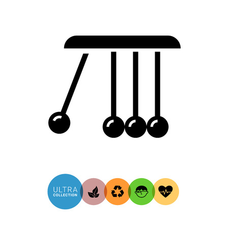 balance ball: Vector icon of Newton cradle balancing balls