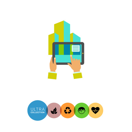 mediated: Multicolored flat icon of human hands holding tablet showing augmented reality Illustration