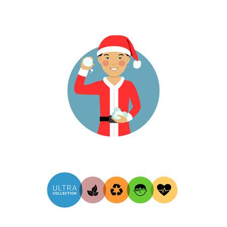 snowballs: personaggio maschile, ritratto sorridente asiatici ragazzo con costume da Babbo Natale, palle di neve in possesso di