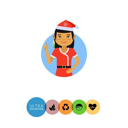 christmas concept: Female character, portrait of Asian teenage girl wearing Santa costume