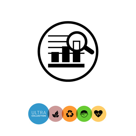 uptrend: Icon of bar chart in circle magnified with magnifying glass Illustration