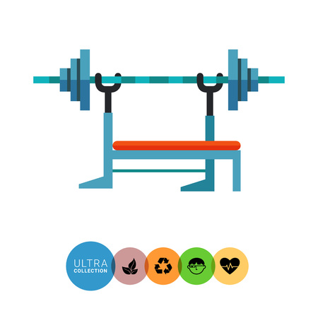 weight machine: Multicolored flat icon of barbell machine, equipment used in weight training