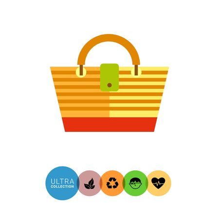 beach bag: Beach bag flat icon. Multicolored vector illustration of striped beach bag Illustration