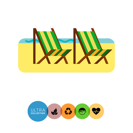sandy: Beach icon. Multicolored vector illustration of sandy beach with two deck chairs Illustration