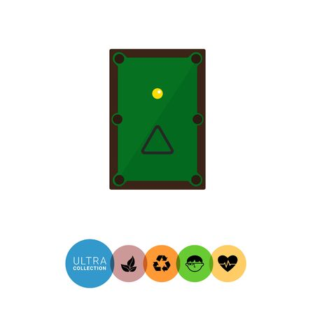 pocket billiards: Multicolored vector icon of billiard table with ball and triangle, top view