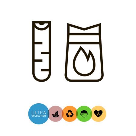 log on: Icon of birch log and charcoal bag