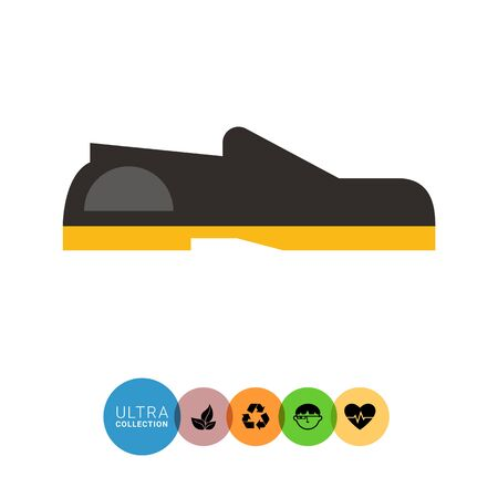 sole: Multicolored vector icon of black loafers with yellow shoe sole Illustration