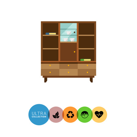 sideboard: Multicolored vector icon of bookcase with closed glass door and books, cups on shelves