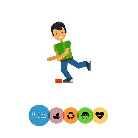 icono de vectores multicolor del personaje bebé de dibujos animados que está tropezando