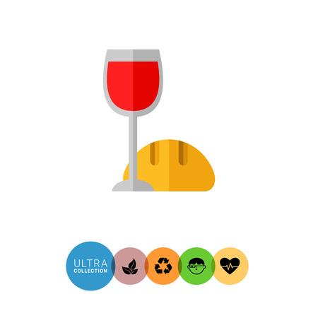 santa cena: Icono de los s�mbolos rituales cristianos, una copa de vino tinto y pan