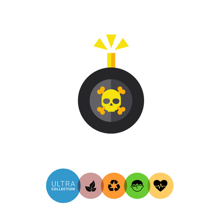 Multicolored vector icon of bomb with danger sign and burning wick