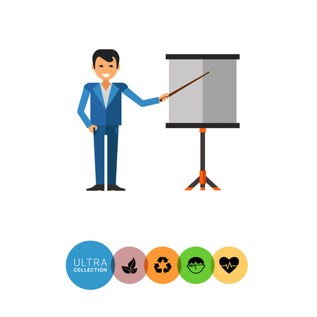 dress code: Multicolored vector icon of businessman showing at board