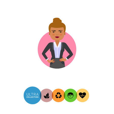 akimbo: Female character, portrait of standing businesswoman with her hands akimbo Illustration