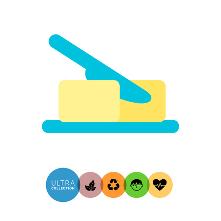 butter knife: Icon of butter piece being cut with knife Illustration