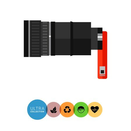 removable: Multicolored vector icon of removable optical camera lens