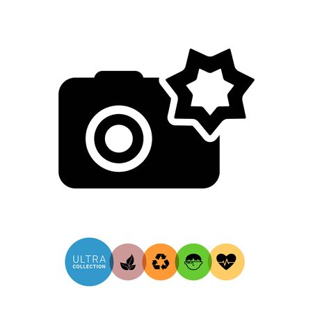 snapshot: Vector icon of snapshot camera with flash Illustration