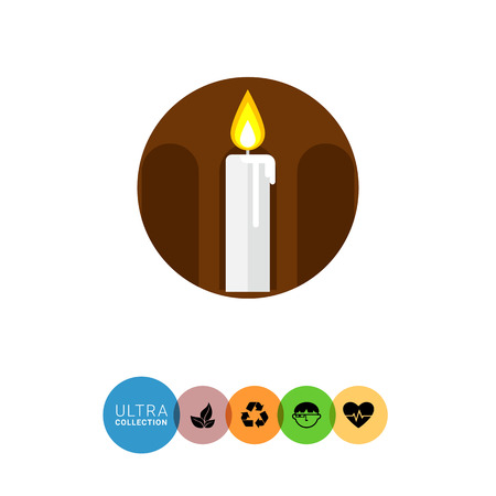 easter candle is burning: Icon of burning wax candle in brown circle with silhouette of arcature Illustration
