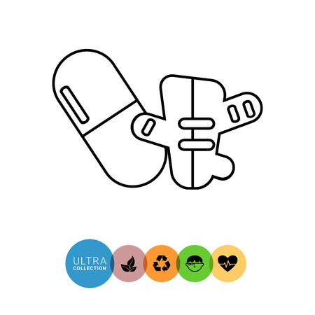 ginger root: Capsule pill and ginger line icon. Vector illustration of capsule pill and ginger root Illustration