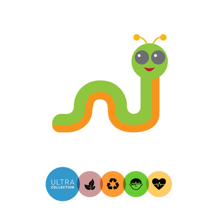 feeler: Multicolored vector icon of smiling cartoon caterpillar