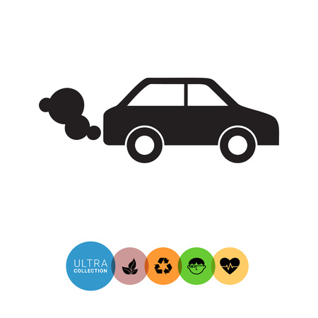 exhaust: Vector icon of car emitting exhaust fumes Illustration