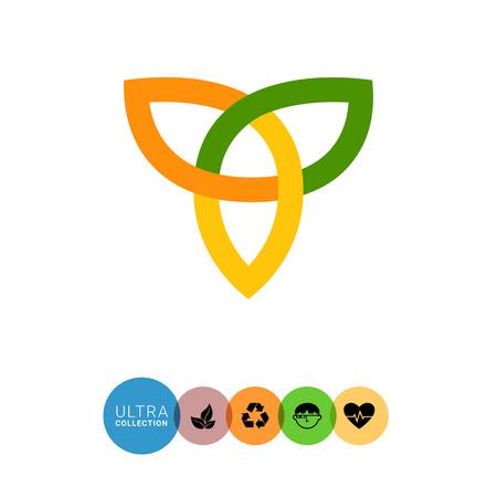 gaelic: Multicolored vector icon of orange-yellow-green Celtic ornament Illustration