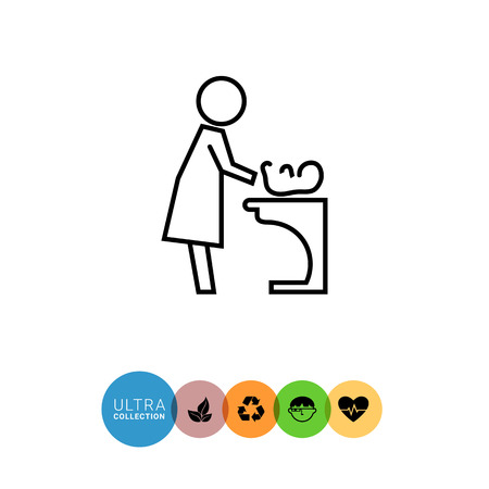 diaper changing table: Icon of mother changing diaper with baby lying on changing table Illustration