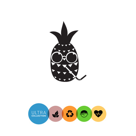 Pineapple simple icon. Black and white illustration of cartoon pineapple character in glasses and with drinking straw Illustration