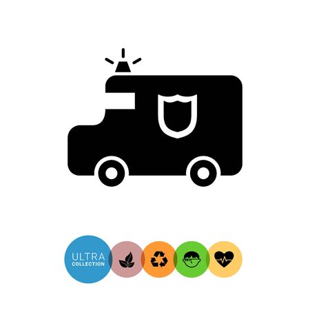 transit: Vector icon of cash transit van with beamer and shield emblem