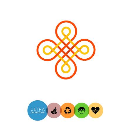 celtic: Multicolored vector icon of wicker Celtic ornament