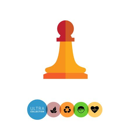 tactic: Multicolored vector icon of orange chess pawn Illustration