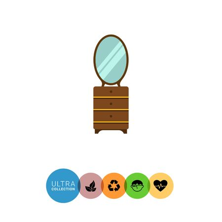 drawers: Multicolored vector icon of wooden chest of three drawers with mirror