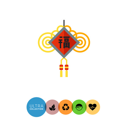 wishes: Multicolored vector icon of Chinese New Year amulet with wishes and knots Illustration