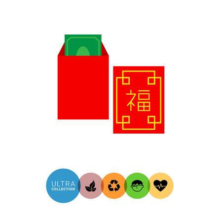 money packet: Vector icon of red Chinese New Year money packet Illustration