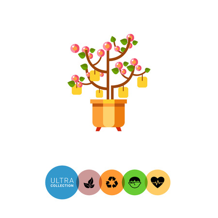 new plant: Multicolored vector icon of Chinese New Year peach tree with packets with wishes