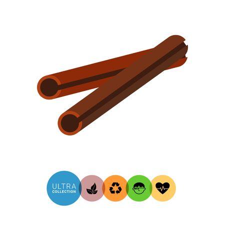 Multicolored vector icon oftwo cinnamon sticks Illustration