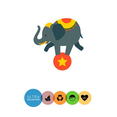 costume ball: Icon of circus elephant balancing on red ball