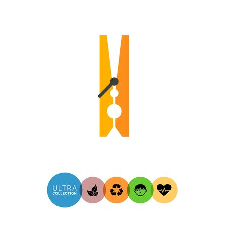 clothes pegs: Multicolored vector icon of classic wooden clothes peg