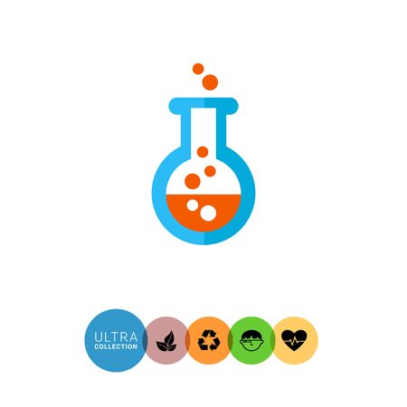bubbling: Icon of chemical laboratory flask with bubbling liquid Stock Photo