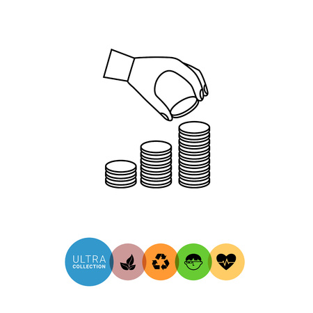 coin stack: Icon of man hand putting coin  onto coin stack