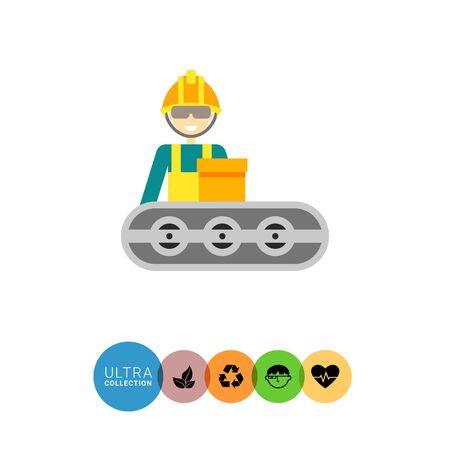 Veelkleurige vector icoon van de exploitant dragen van helm en staan op de transportband Vector Illustratie