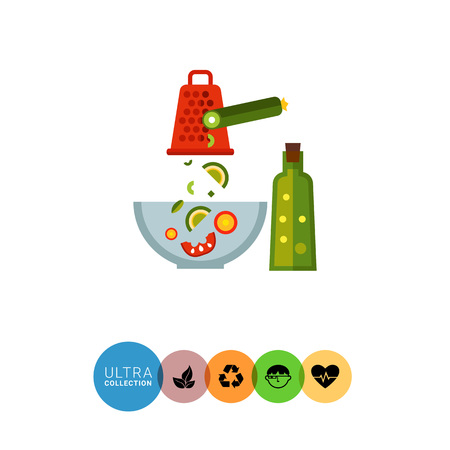 cucumber salad: Multicolored vector icon of glass bowl with vegetable salad ingredients, grater, cucumber and bottle of oil Illustration