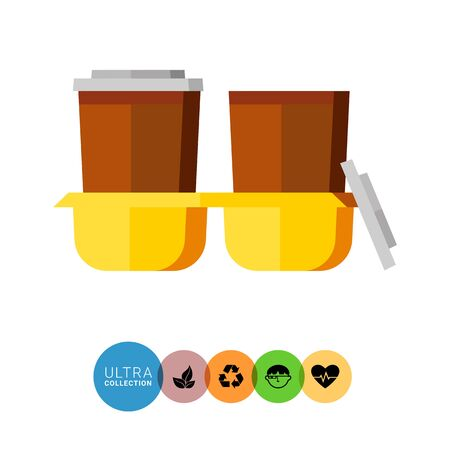 lids: Icon of yellow paper carrier tray for two take-away coffee cups with plastic lids