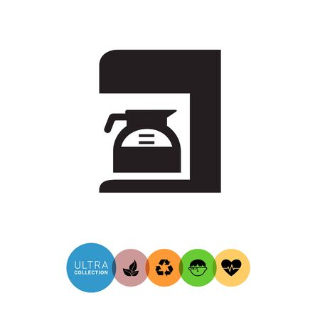 coffee maker: Vector icon of coffee maker with jar filled with coffee