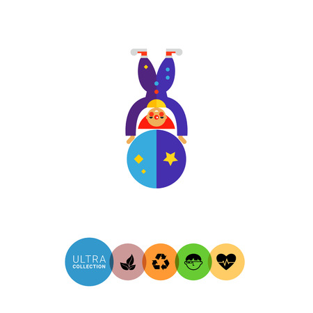 clown shoes: Multicolored vector icon of cute cartoon clown character on big ball Illustration