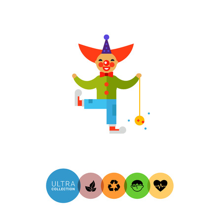 clown shoes: Multicolored vector icon of cute cartoon clown character with ball