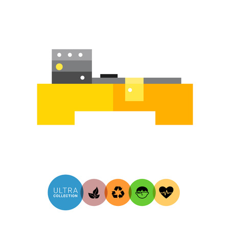 industrial machine: Multicolored vector icon of industrial equipment. CNC machine