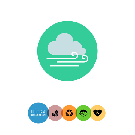 dull: Icon of cloud and slight wind sign Illustration