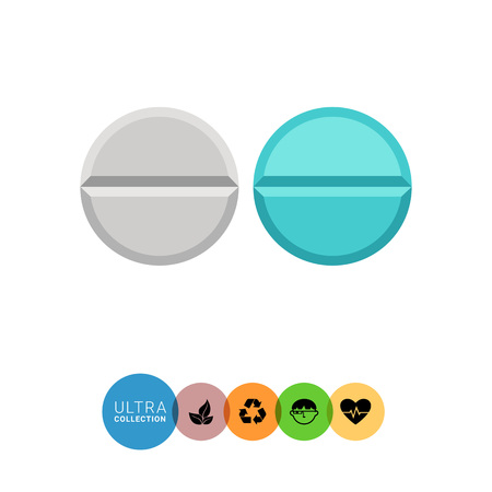 blue pills: Multicolored vector icon of blue and white round pills Illustration