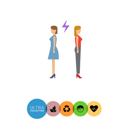 medium length: Icon of two woman turning back to each other with lightning sign between them Illustration